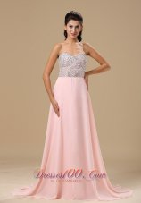 Beaded Light Pink Chiffon Prom Celebrity Dress