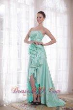 High-low Apple Green Taffeta Strapless Prom Dress