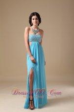 Aqua Empire Strapless Chiffon Beading Prom Evening Dress