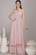 One Shoulder Floor-length Chiffon Beading Prom Dress