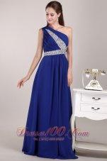 Blue One Shoulder Sequined Prom Evening Dress