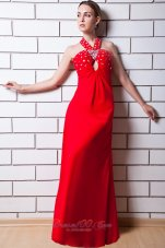 Red Cross Straps Keyhole Beading Prom Dress