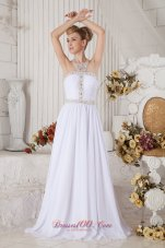 White Halter Top Chiffon Prom Dress with Beading