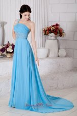 One Shoulder Aqua Blue Brush Train Prom Dress