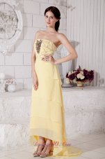 Light Yellow High-low Chiffon Prom Evening Dress