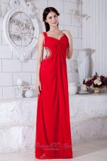 Cross Straps Red Chiffon Beading teenager prom Dress