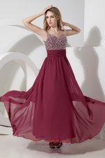 Spaghetti Straps Ankle-length Burgundy Sequined Prom Dress