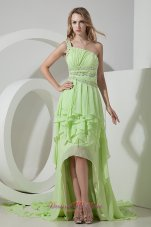 High-low lime green One Shoulder Prom Dress