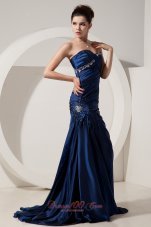 Mermaid Brush Navy Blue Prom Evening Dress Seventeen