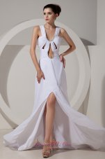 Wide Straps Brush Prom Celebrity Dress White High Split