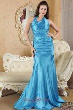 Halter Sequins Prom Dress Brush Aqua Blue
