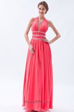 Halter Watermelon Empire Seventeen Prom Dress