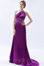 Brush Sheath One Shoulder Purple Celebrity Dress