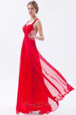 Backless Straps Prom Dress Red Teenager