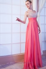 Straps Brush Coral Red Beading Prom Dress