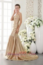 Mermaid Brush Prom Dress Champagne Seventeen