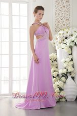 Halter Brush Lavender Beading Dress for Prom