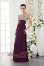 Beading Dark Purple Prom Dress Sweetheart Seventeen