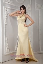 Yellow Beading Brush Prom Dress One Shoulder