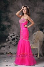 Mermaid Hot Pink Prom Pageant Dress Beading Ruch