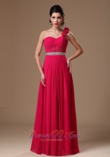 One Shoulder Hand Flowers Coral Red Prom Gown
