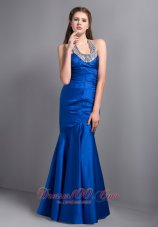 Royal Blue Mermaid Halter Seventeen Prom Dress