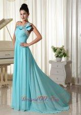 Bow One Shoulder Prom Dress Brush Teenager