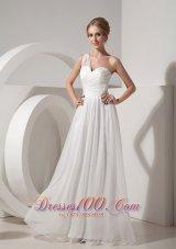 One Shoulder White Empire Beach Wedding Dress