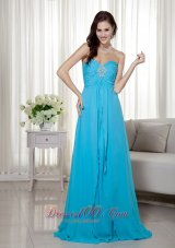 Teal Empire Brush Beading Dress for Prom Pageant
