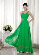 2013 One Shoulder Green Beading Prom Pageant Dress