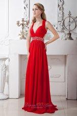 V-neck Crossed Back Prom Homecoming Dress Beading