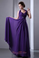 Purple Halter Prom Dress Beading Pleats Backless