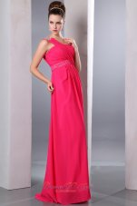 Hot Pink One Shoulder Beading Prom Dress for Cheap