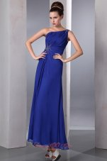 Blue One Shoulder Prom Dress Ankle-length Side Zipper