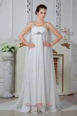 Popular Straps Watteau Beading Dress for Bridal