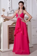Halter Hot Pink Empire Chiffon Prom Dress Beading