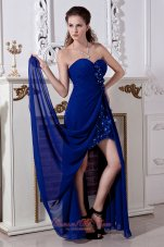 Royal Blue Hi-lo Prom Dress Empire Beading Appliques