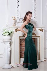 Open Back Hunter Green One Shoulder Prom Dress