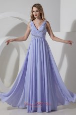 Discounted Lilac Empire Chiffon Beading Prom Dress