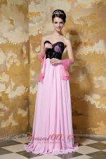 Pink and Black Column Brush Prom Celebrity Dress Hand Made