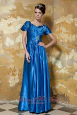 Blue Sweetheart Beading Prom Dress Shot Sleeves