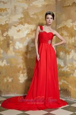 Red Empire One Shoulder Prom Dress Beading Watteau