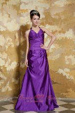 Purple Column Beading Prom Dress With V-neck