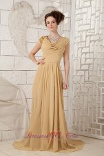 Champagne Empire V-neck Evening Dress Beading