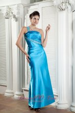 Teal Prom Dress One Shoulder Beading Ankle-length
