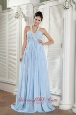 Popular Baby Blue Halter Prom Dress Beading Brush