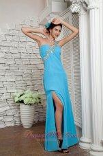 Appliques One Shoulder Prom Dress High Slit