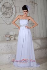 Empire Wedding Dress Brush Train Chiffon Beading