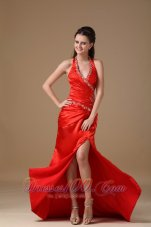 Halter Deep Neck Beading Prom Dress Side Split