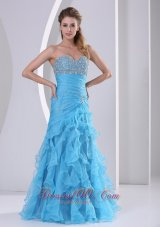 Ruffled Sweetheart Prom Dress Beaded Baby Blue